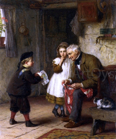 James Clarke Waite A Surprise for Grandfather - Hand Painted Oil Painting