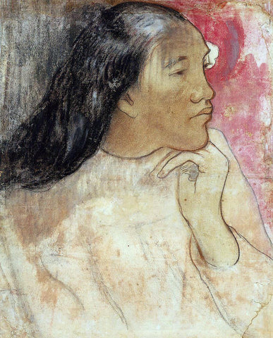 Paul Gauguin A Tahitian Woman with a Flower in Her Hair - Hand Painted Oil Painting