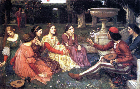 John William Waterhouse A Tale from the Decameron - Hand Painted Oil Painting