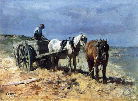 Anton Mauve A Team and Pull-cart - Hand Painted Oil Painting