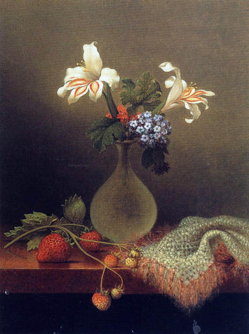 Martin Johnson Heade A Vase of Corn Lilies and Heliotrope - Hand Painted Oil Painting