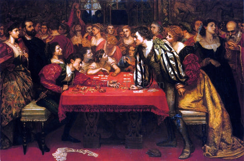 Valentine Cameron Prinsep Venetian Gaming-House in the Sixteenth Century - Hand Painted Oil Painting