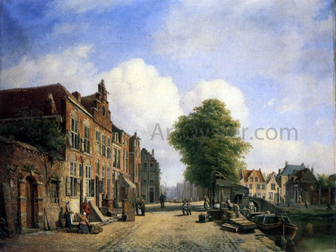 Marinus Van Raden A View in a Town with Townsfolk on a Street Along a Canal - Hand Painted Oil Painting