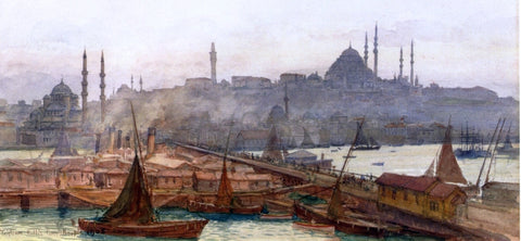 Tristram Ellis A View of Galata Bridge, Yemi Cami, Beyazit Tower and Saleymaniye Mosque, Constantinople - Hand Painted Oil Painting
