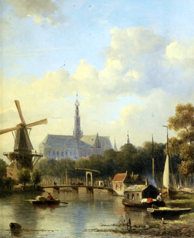 Everhardus Koster A View of Haarlem with St Bavo Cathedral from the River - Hand Painted Oil Painting