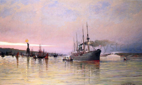 Cornelis Christiaan Dommelshuizen A View Of New York Harbor - Hand Painted Oil Painting