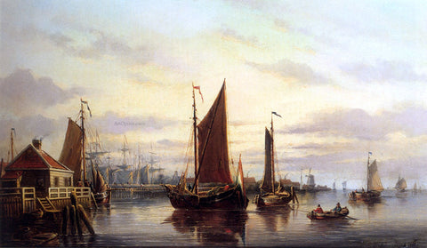 Johannes Hilverdink A View Of The IJ, Amsterdam, With Various Shipping Near Het Slagthuys - Hand Painted Oil Painting