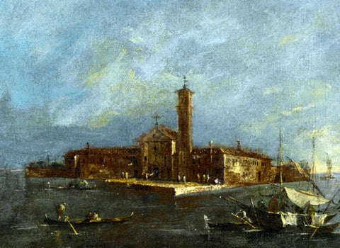Giacomo Guardi View of the Island of Santa Maria delle Grazie - Hand Painted Oil Painting