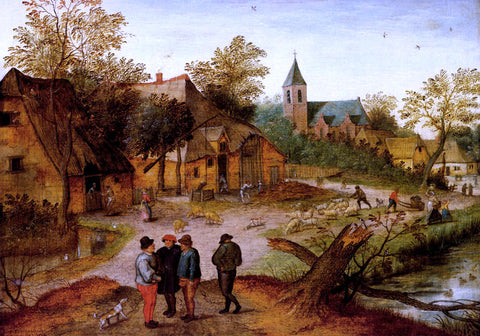 The Younger Pieter Brueghel A Village Landscape With Farmers - Hand Painted Oil Painting