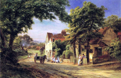 Robert Gallon A Village Scene - Hand Painted Oil Painting