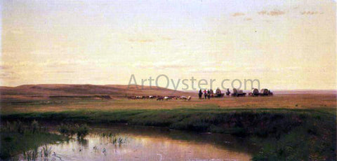 Thomas Worthington Whittredge A Wagon Train on the Plains, Platte River - Hand Painted Oil Painting
