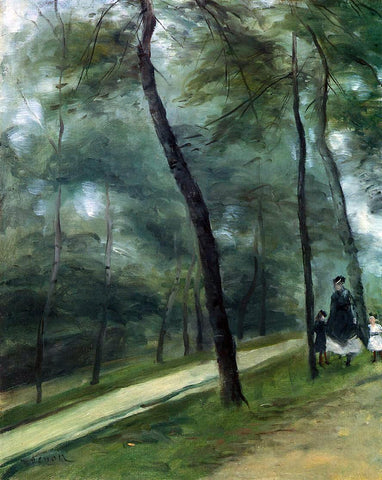 Pierre Auguste Renoir A Walk in the Woods (also known as Madame Lecoeur and Her Children) - Hand Painted Oil Painting