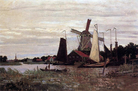 Claude Oscar Monet Windmill at Zaandam - Hand Painted Oil Painting