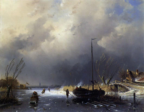 Charles Joseph Leickert Winter Landscape with Skaters - Hand Painted Oil Painting