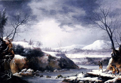 Francesco Foschi A Winter Landscape With Travellers On A Path - Hand Painted Oil Painting