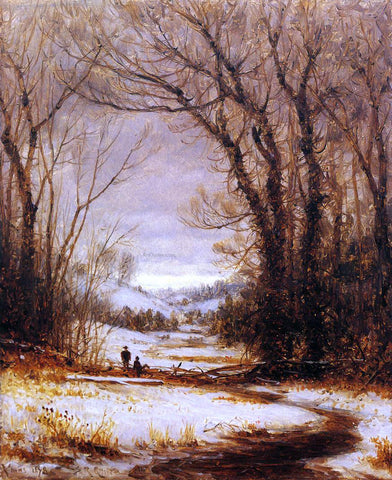 Sanford Robinson Gifford A Winter Walk - Hand Painted Oil Painting