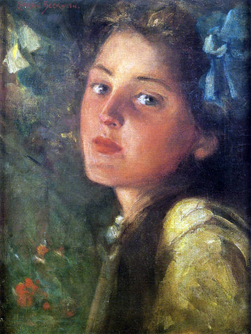 James Carroll Beckwith A Wistful Look - Hand Painted Oil Painting