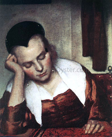 Johannes Vermeer A Woman Asleep at Table (detail: 1) - Hand Painted Oil Painting