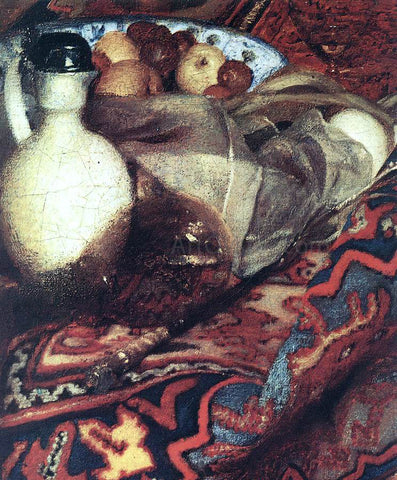Johannes Vermeer A Woman Asleep at Table [detail: 3] - Hand Painted Oil Painting