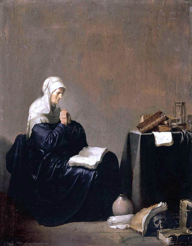 Willem De Poorter A Woman Praying - Hand Painted Oil Painting