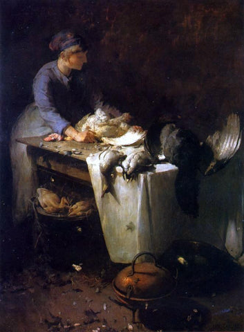 Emil Carlsen A Young Girl Preparing Poultry - Hand Painted Oil Painting