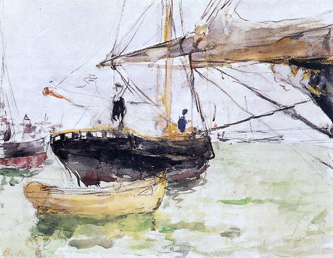 Berthe Morisot Aboard a Yacht - Hand Painted Oil Painting