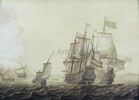 Heerman Witmont Action between Dutch and English Ships - Hand Painted Oil Painting