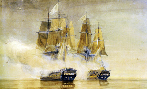 Thomas Whitcombe Action between HMS Amethyst and the French frigate Thetis - Hand Painted Oil Painting