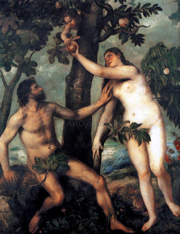 Titian Adam and Eve - Hand Painted Oil Painting