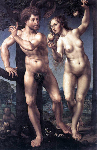 Jan Gossaert (Mabuse) Adam and Eve - Hand Painted Oil Painting