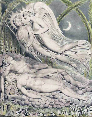 William Blake Adam and Eve Sleeping - Hand Painted Oil Painting