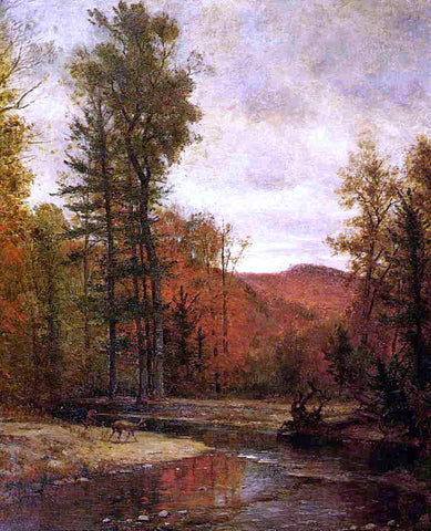 Thomas Worthington Whittredge Adirondack Woodland with Two Deer - Hand Painted Oil Painting