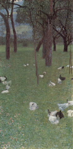 Gustav Klimt After the Rain Garden with Chickens in St Agatha - Hand Painted Oil Painting