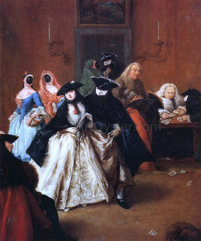 Pietro Longhi Al Ridotto - Hand Painted Oil Painting