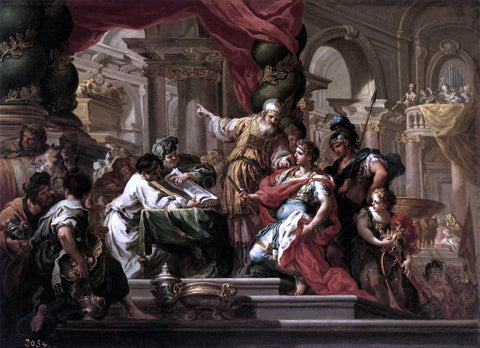 Sebastiano Conca Alexander the Great in the Temple of Jerusalem - Hand Painted Oil Painting