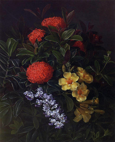 Johan Laurentz Jensen Allemanda, Ixora and Orchids - Hand Painted Oil Painting
