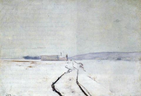 John Twachtman Along the River, Winter - Hand Painted Oil Painting