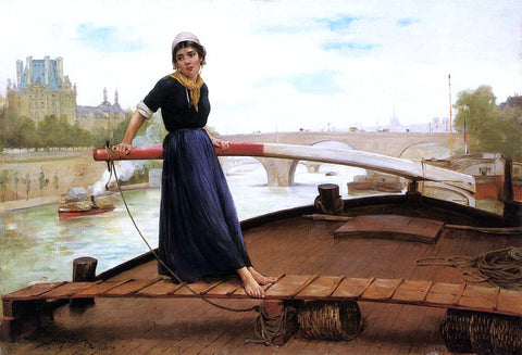 Henry Bacon Along the Seine - Hand Painted Oil Painting