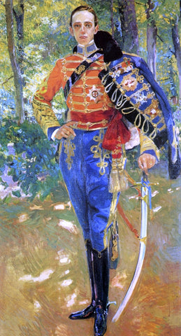 Joaquin Sorolla Y Bastida Alphonso XIII in Hussars Uniform - Hand Painted Oil Painting