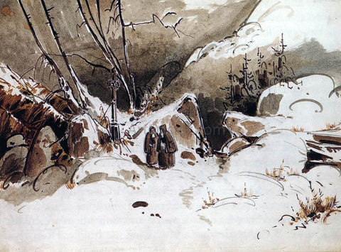 Carl Blechen Alpine Pass in Winter with Monks - Hand Painted Oil Painting