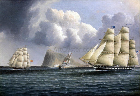 James E Buttersworth American Frigate off Gibralter Flying a Commodore's Pennant - Hand Painted Oil Painting