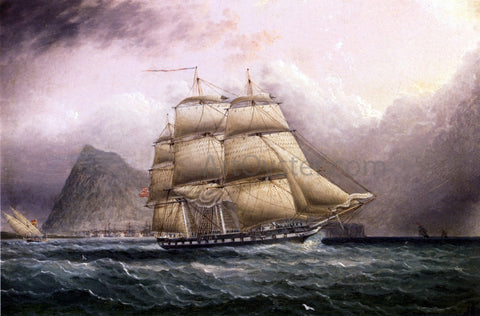 James E Buttersworth American Frigate off Gilbraltar - Hand Painted Oil Painting