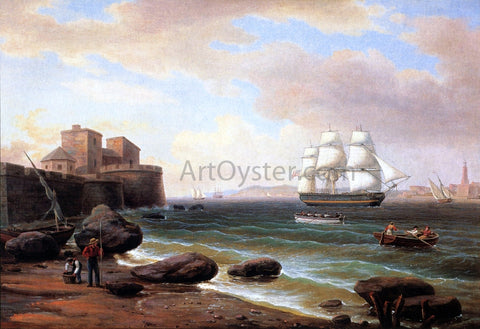 Thomas Birch American Merchant Ship Entering Marseilles - Hand Painted Oil Painting