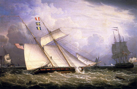 Robert Salmon American Schooner Under Sail with Heavy Seas - Hand Painted Oil Painting