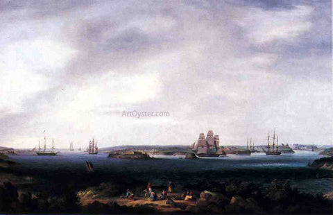 Thomas Birch American Warships Anchored at Port Mahon, Spain - Hand Painted Oil Painting