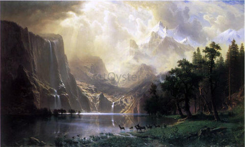 Albert Bierstadt Among the Siera Navada Mountains, California - Hand Painted Oil Painting