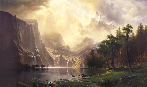 Albert Bierstadt Among the Sierra Nevada Mountans - Hand Painted Oil Painting