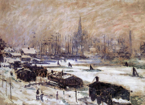 Claude Oscar Monet Amsterdam in the Snow - Hand Painted Oil Painting