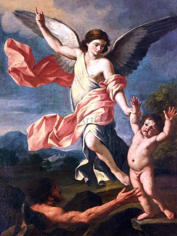 Giacinto Gimignani An Angel and a Devil Fighting for the Soul of a Child - Hand Painted Oil Painting