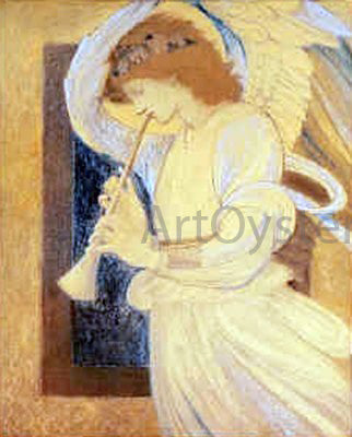 Sir Edward Burne-Jones An Angel Playing a Flageolet - Hand Painted Oil Painting